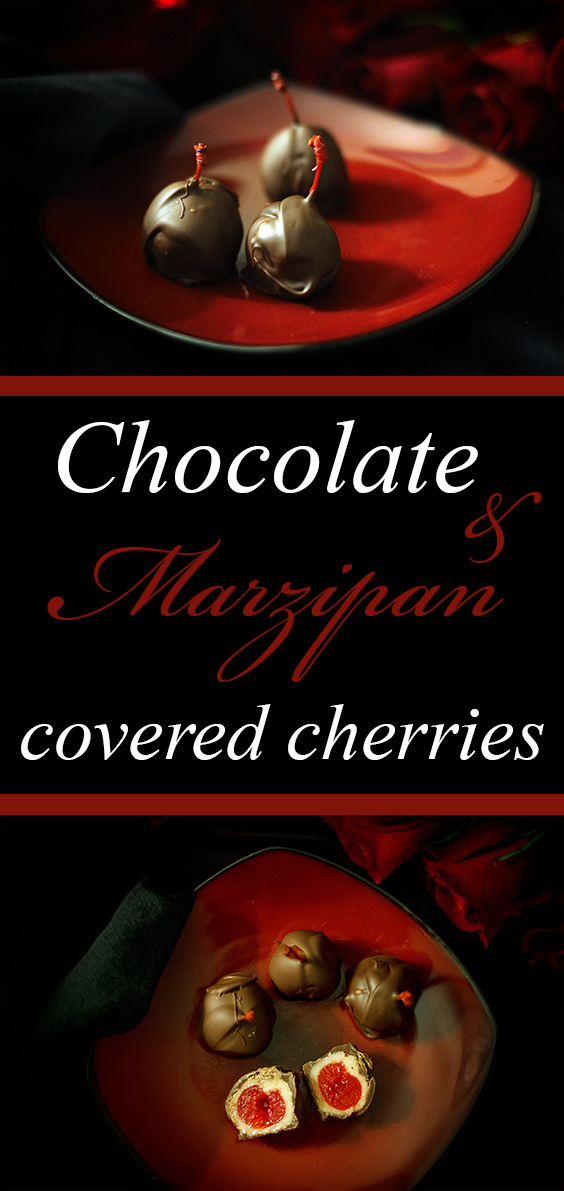 EASY & decadent chocolate and marzipan covered cherries. #vegan #glutenfree #plantbased #dessert #candy #chocolate #cherry #marzipan #recipe