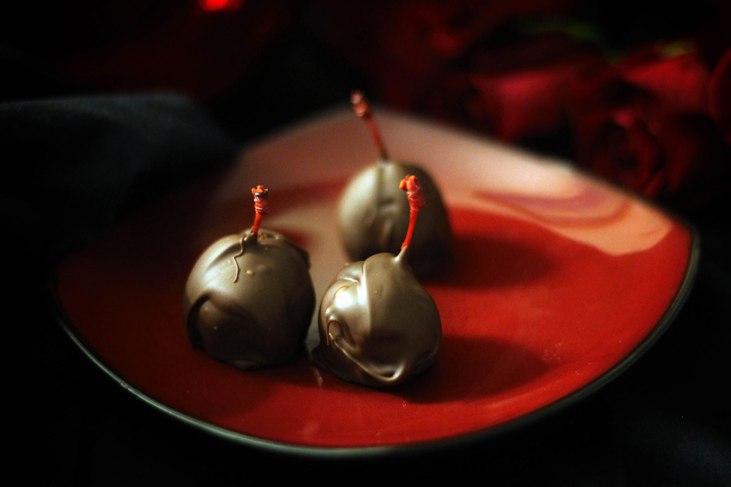 EASY & decadent chocolate and marzipan covered cherries. #vegan #glutenfree #plantbased #dessert #candy #chocolate #cherry #marzipan