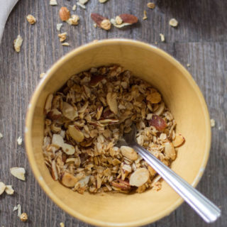 THE BEST Vegan Granola! Perfect for backpacking, lemon, ginger, and coconut SO yummy! #vegan #glutenfree #plantbased #granola #backpacking #recipe