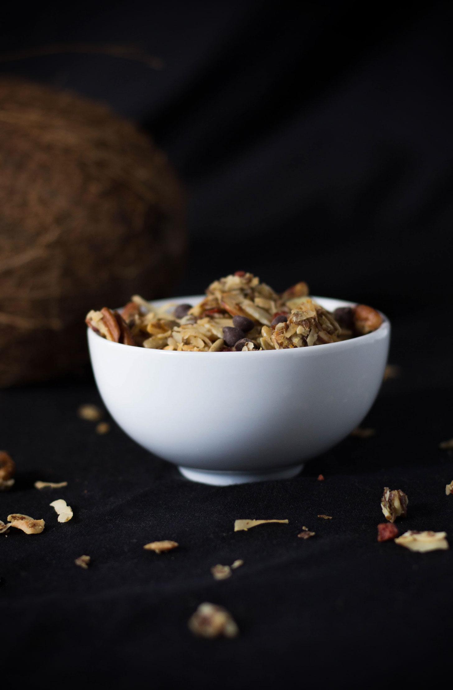 Vegan Maple Bacon Chocolate Granola! Sweet and smoky! #vegan #glutenfree #plantbased #granola #backpacking #recipe