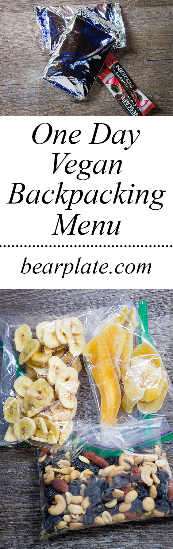 EASY Vegan Backpacking Menu! One-day vegan backpacking menu with grocery store items! No freeze-dried meals. No dehydrator required. #vegan #easy #plantbased #backpacking #menu #bearplate