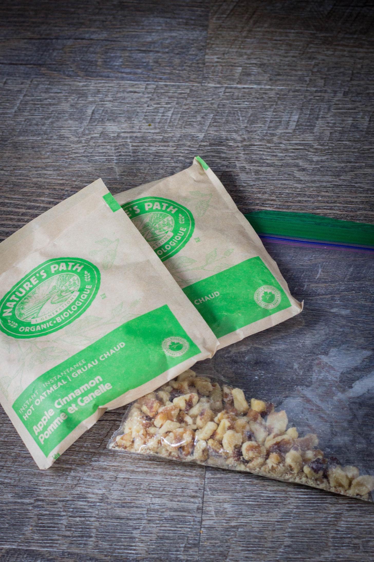 Vegan backpacking breakfast meal plan: oatmeal and walnuts.