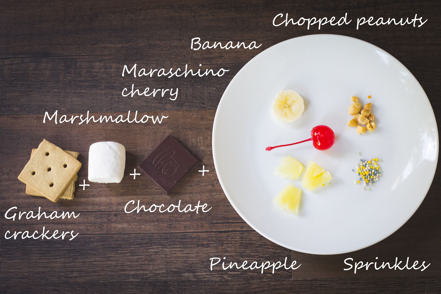 Ingredients for a banana split smore.