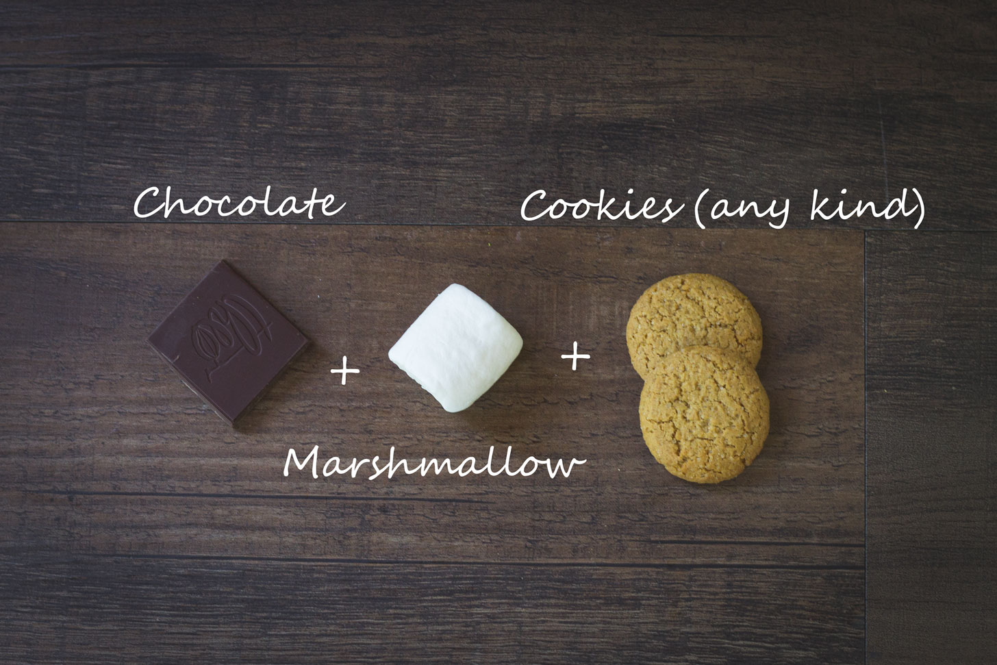 Vegan chocolate, marshmallow, and cookies.
