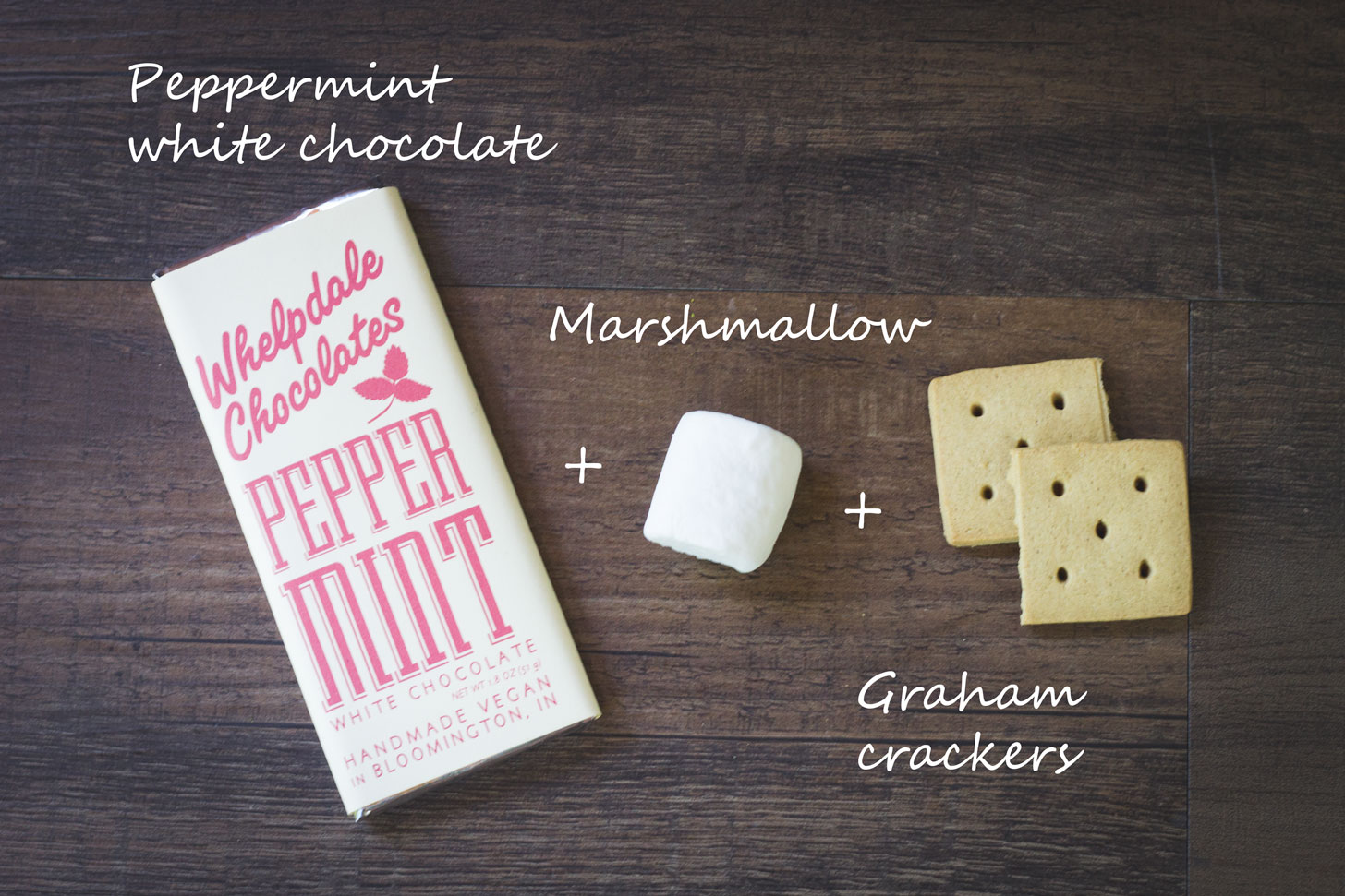 Peppermint white chocolate, marshmallow, and graham crackers.