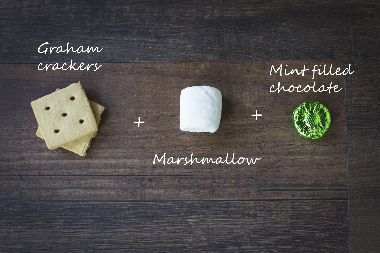 Graham crackers, marshmallow, and mint chocolate.