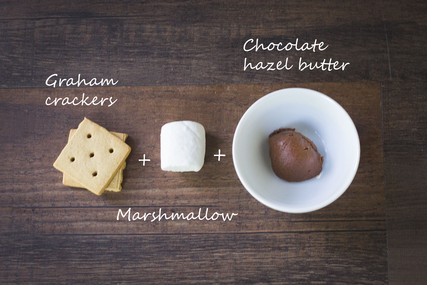 Vegan graham crackers, marshmallow, and chocolate hazelnut butter.