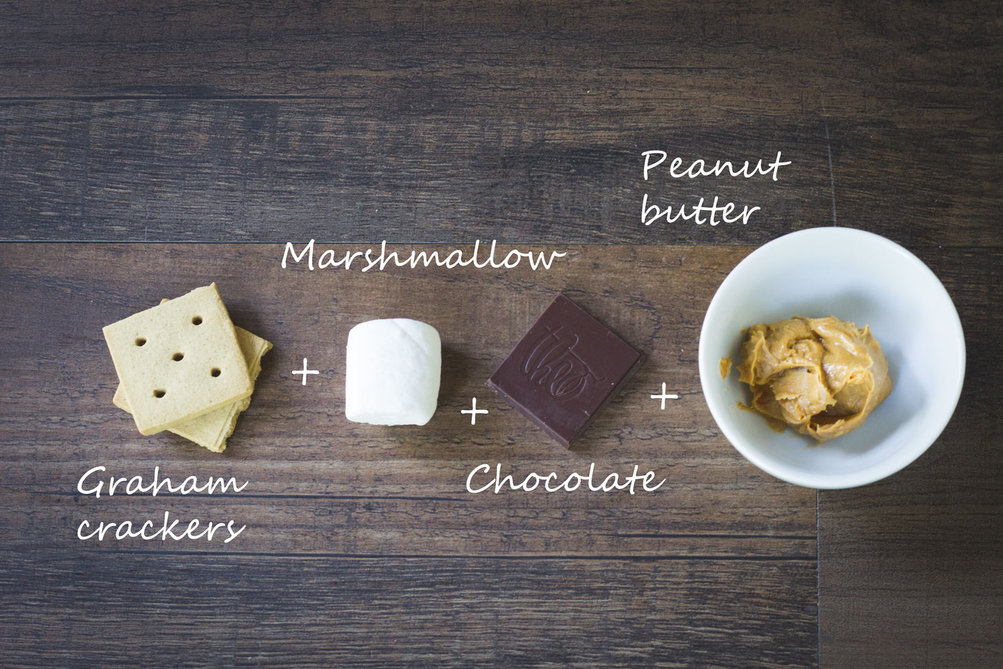 Graham crackers, marshmallow, chocolate, and peanut butter.