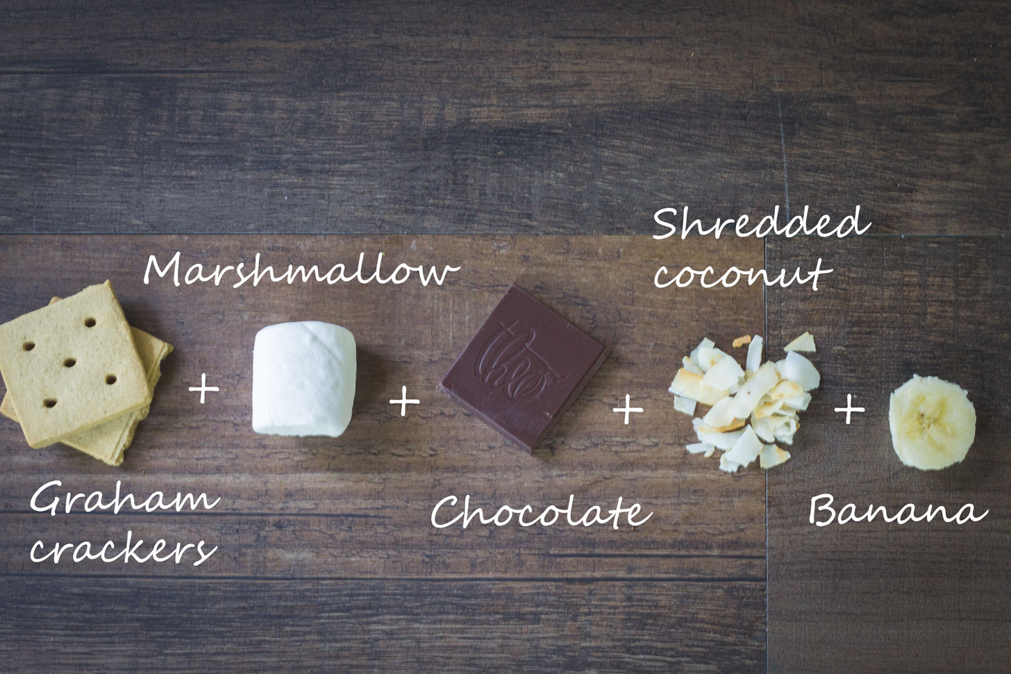 Ingredients for a tropical smores.