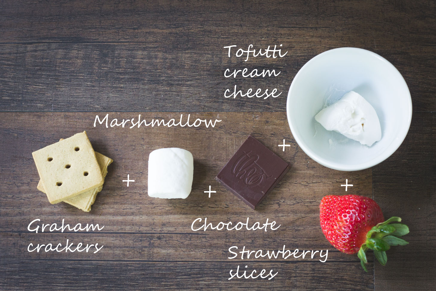 Ingredients for vegan strawberry cheesecake smores.