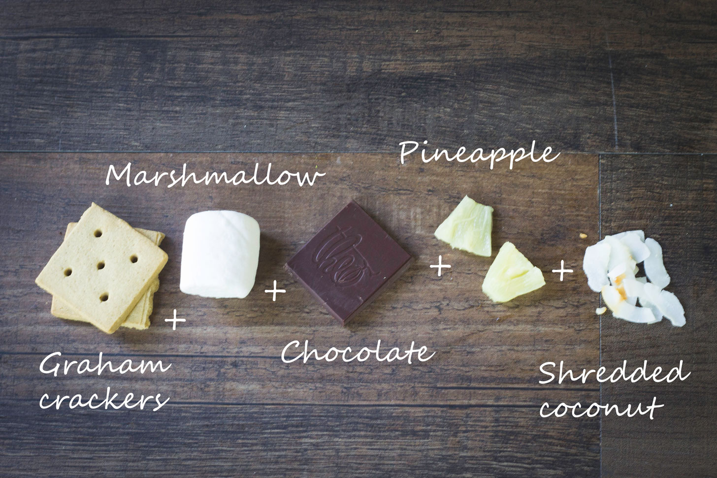 MORE S'MORES RECIPES!!! Ingredients for a pina colada smore.