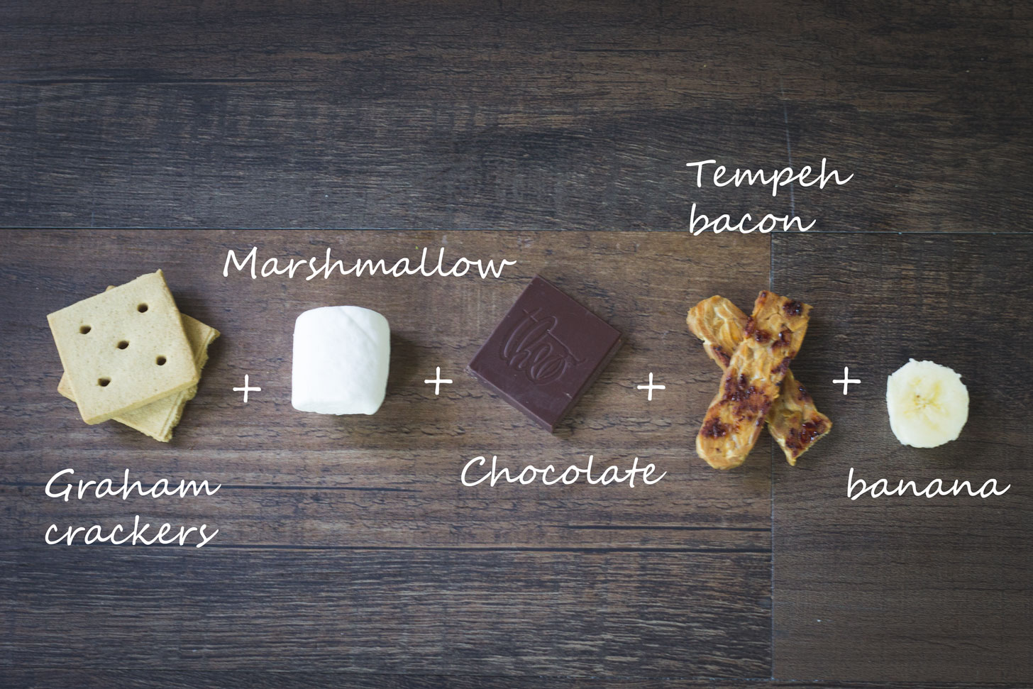 MORE S'MORES RECIPES!!! Ingredients for a vegan Elvis smore.