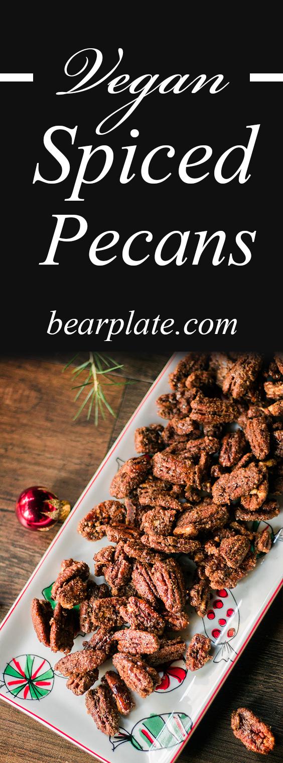 DELICIOUS Vegan Spiced Pecans! Perfect for the holidays, cinnamon, nutmeg, and cardamom SO yummy! #vegan #glutenfree #plantbased #chrismas #holiday #recipe