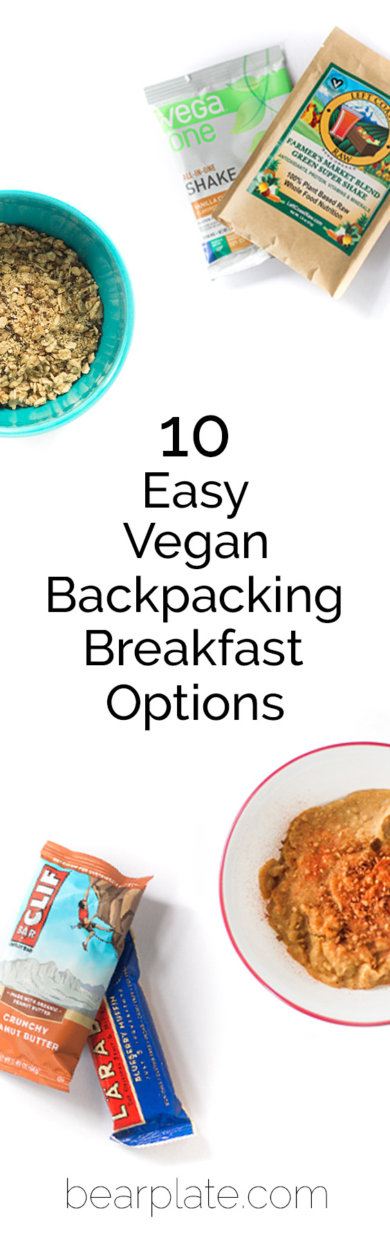 10 Easy Vegan Backpacking Breakfast Options! Breakfast on the trail doesn't need to be complicated! #vegan #plantbased #backpacking #bearplate
