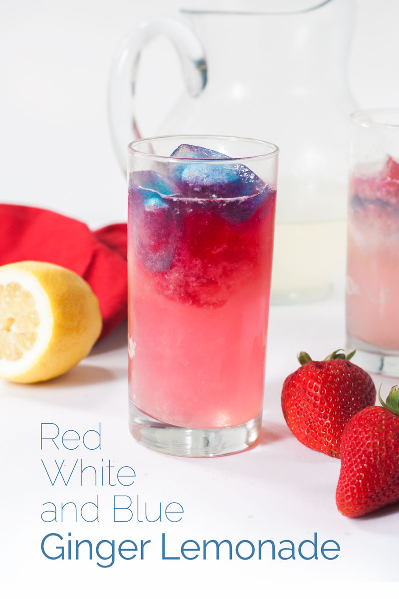 Red, White, and Blue Ginger Lemonade is the perfect refreshing summer drink to serve at your Fourth of July celebration. #lemonade #summerrecipe #fourthofjuly #bearplate   bearplate.com