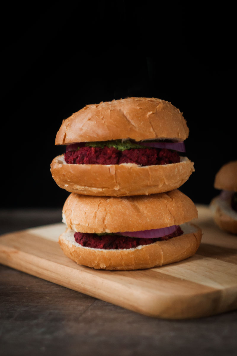 Two vegan beet burgers.