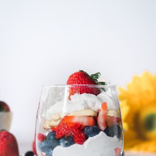 Vegan red, white, and blue parfait.