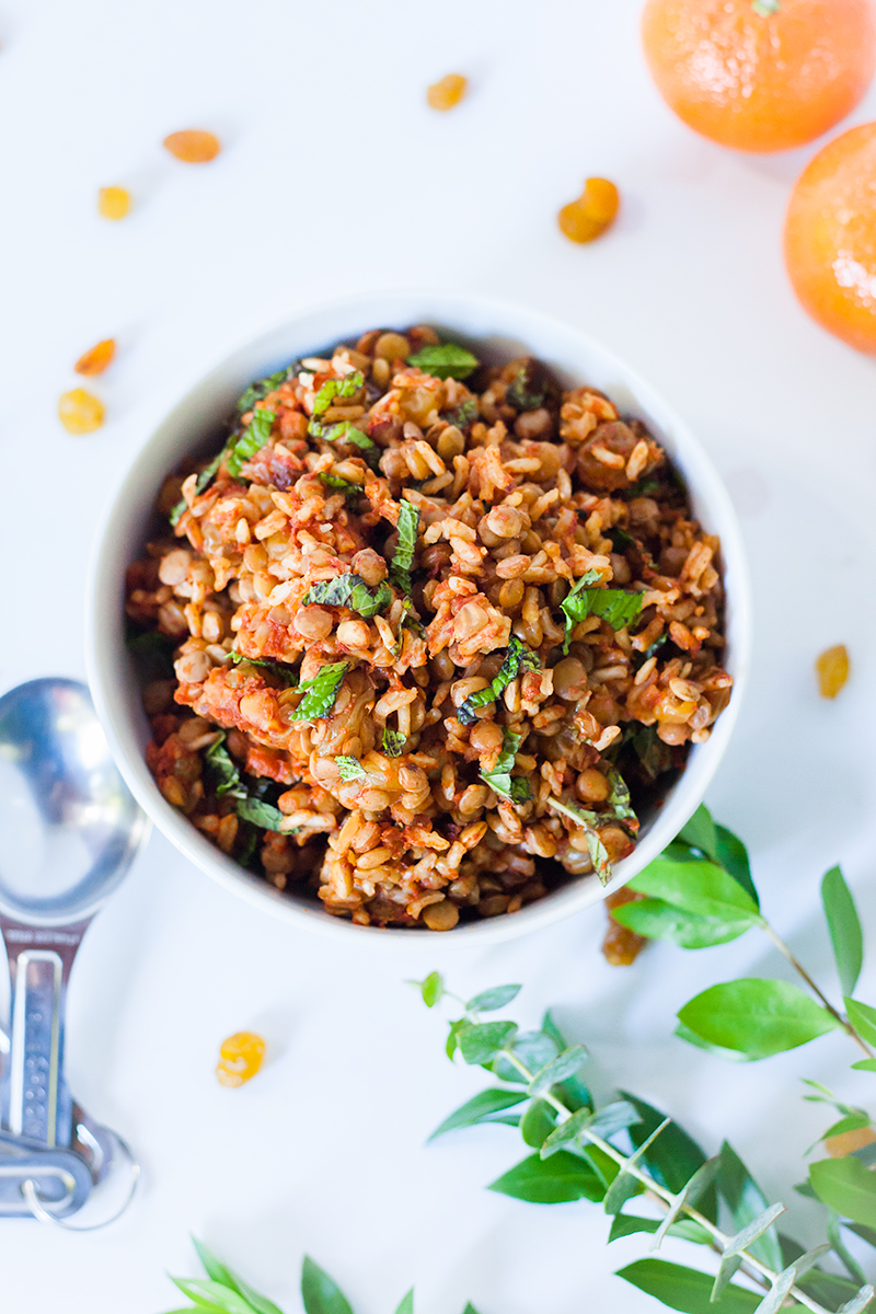 Moroccan-Inspired Vegan Lentil and Brown Rice Casserole on a white background.