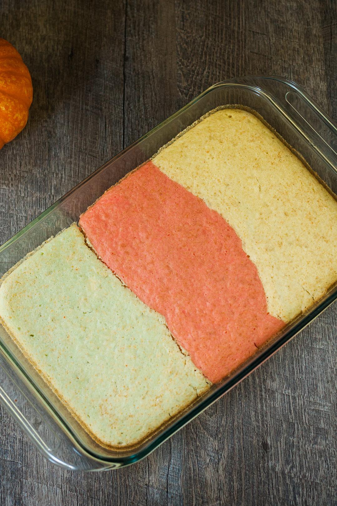 Vegan cake in a pan.