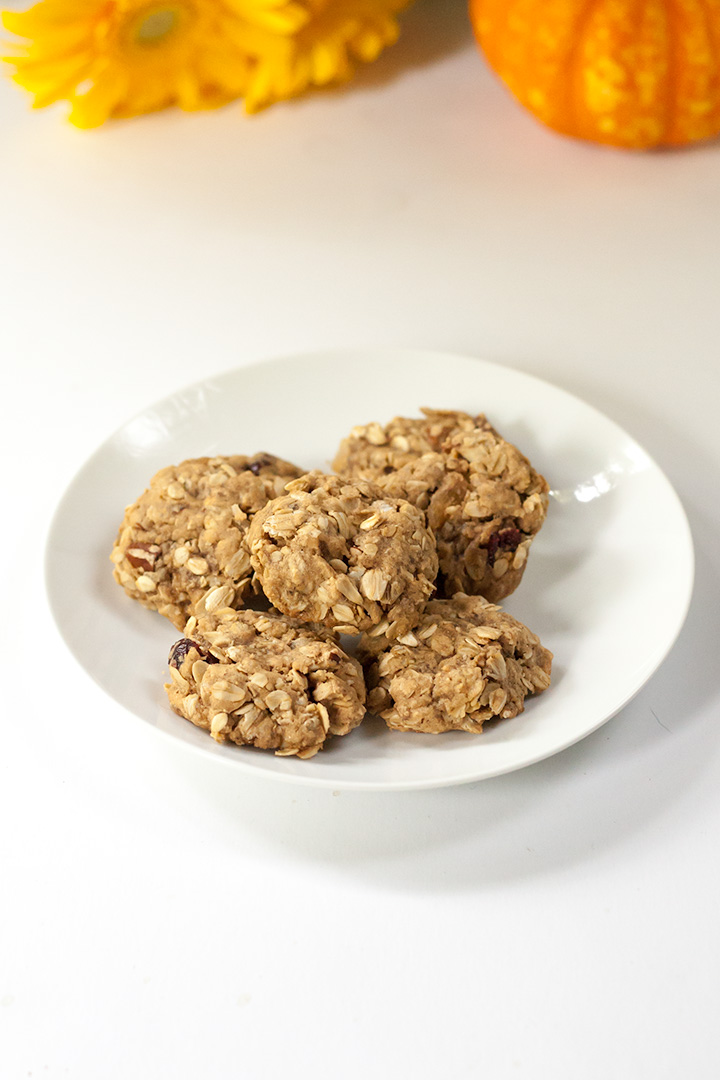 homemade vegan oatmeal fall cookies on a white plate.