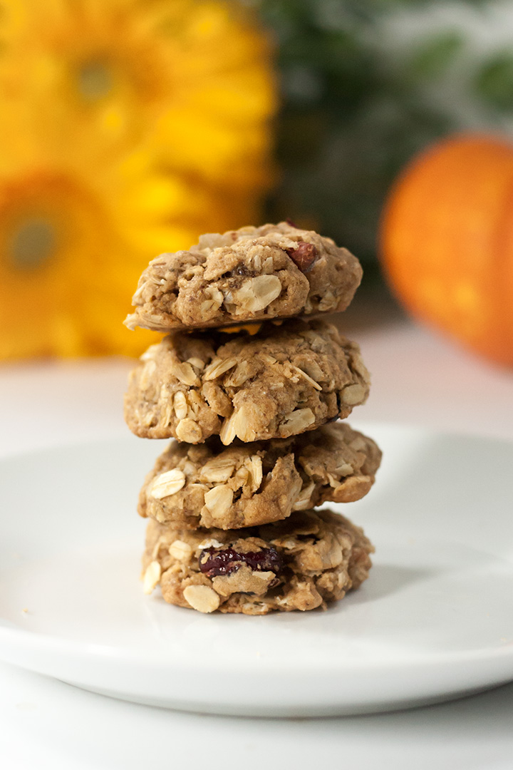 A stack of vegan oatmeal cookies.
